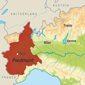 Map showing Piemonte DOP