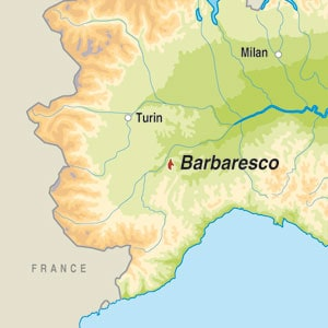 Map showing Barbaresco DOCG