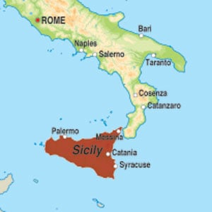 Map showing Sicilia DOC