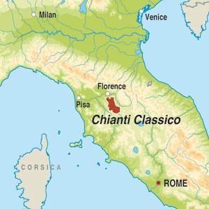 Map showing Chianti Classico Riserva DOCG