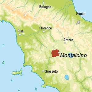 Map showing Brunello di Montalcino DOCG