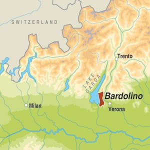Map showing Bardolino Chiaretto DOC