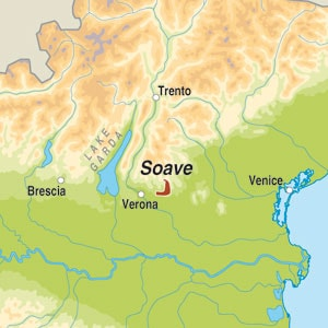 Map showing Soave DOP