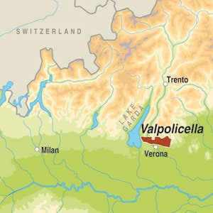 Map showing Valpolicella Ripasso Classico Superiore DOC