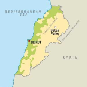 Map showing Beqaa Valley