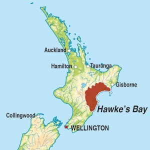 Map showing Hawke's Bay