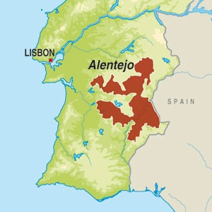 Map showing Vinho Regional Alentejano