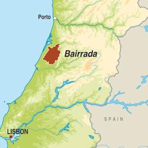 Map showing Bairrada DOC