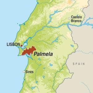 Map showing Vinho Regional Península de Setúbal