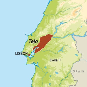 Map showing Vinho regional Tejo