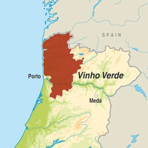 Map showing Vinho Verde DO