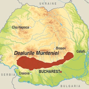 Map showing Dealurile Munteniei