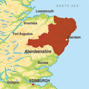 Map showing Aberdeenshire