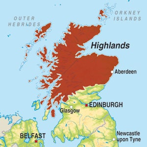 Map showing Highland Single Malt Scotch Whisky