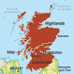 Map showing Scotland