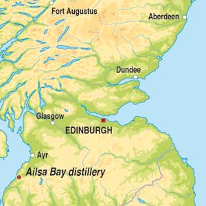 Map showing Lowland Single Malt Scotch Whisky
