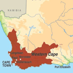 Map showing Undefined South African Region