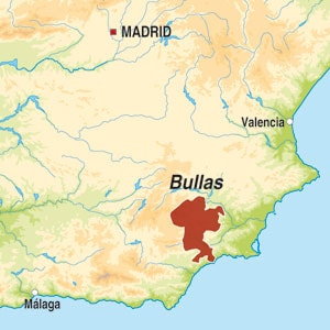 Map showing Bullas
