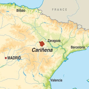 Map showing Cariñena DO