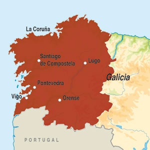 Map showing Galicia