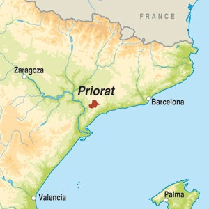 Map showing Priorat DOCa