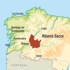 Map showing Ribeira Sacra DO