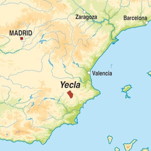 Map showing Yecla DO