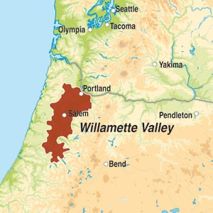 Map showing Willamette Valley